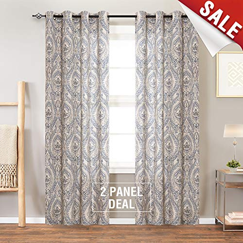 Jinchan Vintage Linen Curtains For Living Room With Medallion Damask Printed Drapes For Bedroom Medallion Curtain Sets For Windows Patio Door 2 Panels 84 Inch Blue 0 0