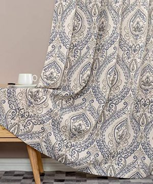 Jinchan Vintage Linen Curtains For Living Room With Medallion Damask Printed Drapes For Bedroom Medallion Curtain Sets For Windows Patio Door 2 Panels 84 Inch Blue 0 1 300x360