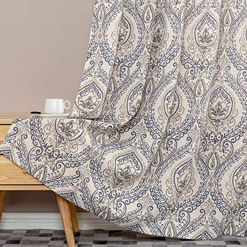 Jinchan Vintage Linen Curtains For Living Room With Medallion Damask Printed Drapes For Bedroom Medallion Curtain Sets For Windows Patio Door 2 Panels 84 Inch Blue 0 1