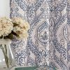 Jinchan Vintage Linen Curtains For Living Room With Medallion Damask Printed Drapes For Bedroom Medallion Curtain Sets For Windows Patio Door 2 Panels 84 Inch Blue 0 100x100