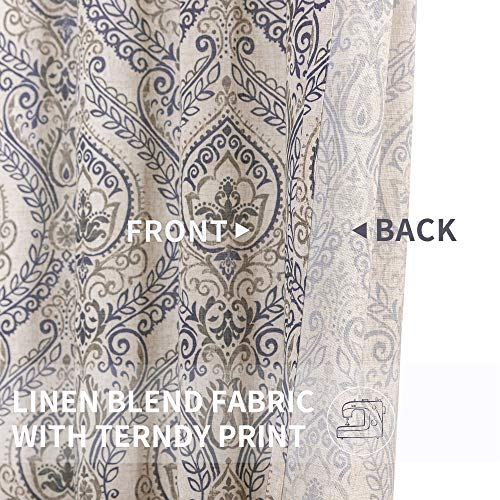 Jinchan Vintage Linen Curtains For Living Room With Medallion Damask Printed Drapes For Bedroom Medallion Curtain Sets For Windows Patio Door 2 Panels 84 Inch Blue 0 2