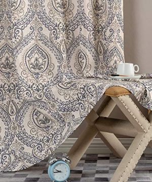 Jinchan Vintage Linen Curtains For Living Room With Medallion Damask Printed Drapes For Bedroom Medallion Curtain Sets For Windows Patio Door 2 Panels 84 Inch Blue 0 3 300x360