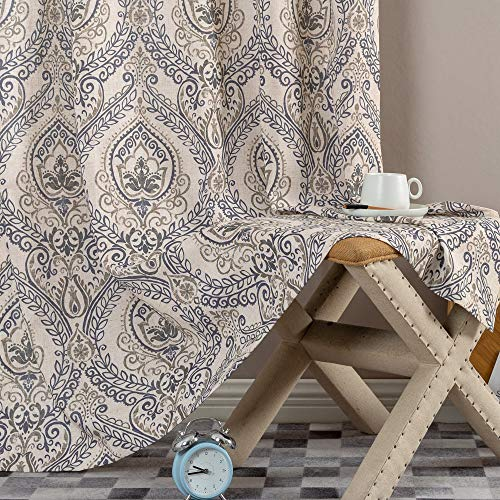 Jinchan Vintage Linen Curtains For Living Room With Medallion Damask Printed Drapes For Bedroom Medallion Curtain Sets For Windows Patio Door 2 Panels 84 Inch Blue 0 3