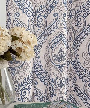 Jinchan Vintage Linen Curtains For Living Room With Medallion Damask Printed Drapes For Bedroom Medallion Curtain Sets For Windows Patio Door 2 Panels 84 Inch Blue 0 300x360