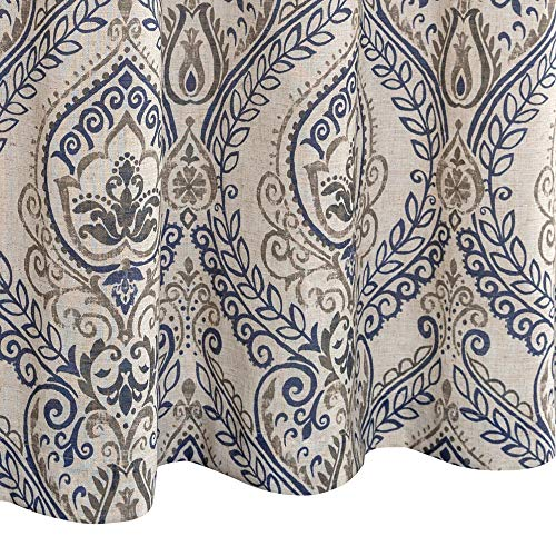 Jinchan Vintage Linen Curtains For Living Room With Medallion Damask Printed Drapes For Bedroom Medallion Curtain Sets For Windows Patio Door 2 Panels 84 Inch Blue 0 5