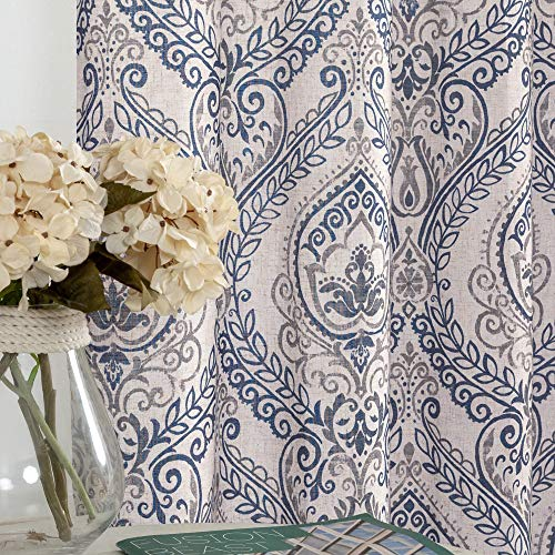 Jinchan Vintage Linen Curtains For Living Room With Medallion Damask Printed Drapes For Bedroom Medallion Curtain Sets For Windows Patio Door 2 Panels 84 Inch Blue 0
