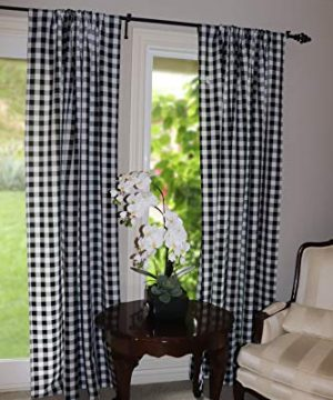 Lovemyfabric GinghamCheckered 100 Polyester Curtain Window TreatmentDecor Panel Black And White 2 56X84 0 0 300x360