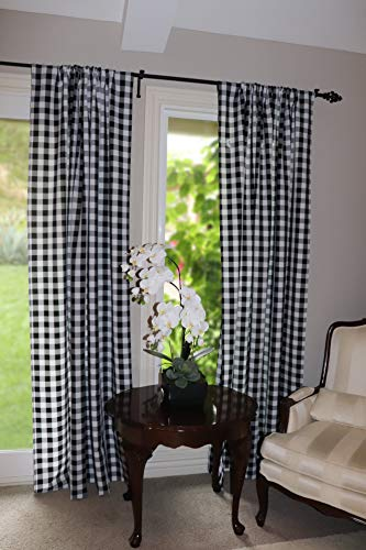 Lovemyfabric GinghamCheckered 100 Polyester Curtain Window TreatmentDecor Panel Black And White 2 56X84 0 0