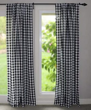 Lovemyfabric GinghamCheckered 100 Polyester Curtain Window TreatmentDecor Panel Black And White 2 56X84 0 1 300x360