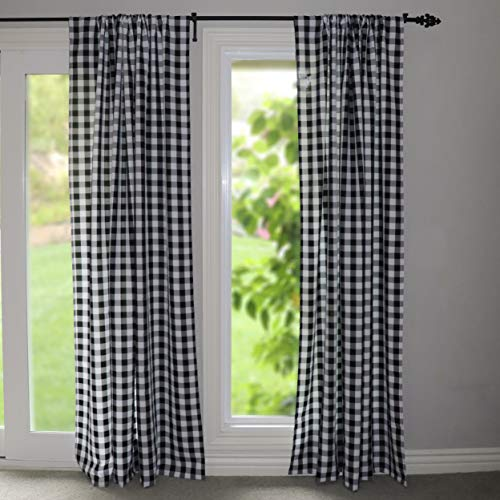 Lovemyfabric GinghamCheckered 100 Polyester Curtain Window TreatmentDecor Panel Black And White 2 56X84 0 1