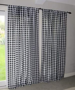 Lovemyfabric GinghamCheckered 100 Polyester Curtain Window TreatmentDecor Panel Black And White 2 56X84 0 3 300x360