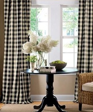 Lovemyfabric GinghamCheckered 100 Polyester Curtain Window TreatmentDecor Panel Black And White 2 56X84 0 300x360