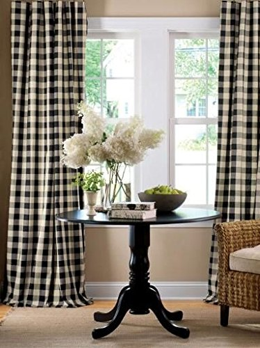 Lovemyfabric GinghamCheckered 100 Polyester Curtain Window TreatmentDecor Panel Black And White 2 56X84 0