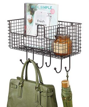 MDesign Metal Wire Farmhouse Wall Decor Storage Organizer Basket With 6 Hooks For Entryway Hallway Mudroom Bedroom Bathroom Laundry Room Wall Mount Bronze 0 300x360