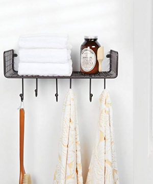 MDesign Metal Wire Farmhouse Wall Decor Storage Organizer Shelf With 6 Hooks For Bathroom Organization To Hold Face And Hand Towels Tissue Soap Lotion Robes Wall Mount Bronze 0 0 300x360