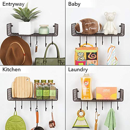 MDesign Metal Wire Farmhouse Wall Decor Storage Organizer Shelf With 6 Hooks For Bathroom Organization To Hold Face And Hand Towels Tissue Soap Lotion Robes Wall Mount Bronze 0 1