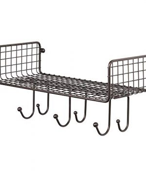 MDesign Metal Wire Farmhouse Wall Decor Storage Organizer Shelf With 6 Hooks For Bathroom Organization To Hold Face And Hand Towels Tissue Soap Lotion Robes Wall Mount Bronze 0 3 300x360