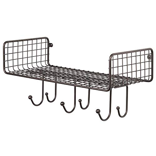 MDesign Metal Wire Farmhouse Wall Decor Storage Organizer Shelf With 6 Hooks For Bathroom Organization To Hold Face And Hand Towels Tissue Soap Lotion Robes Wall Mount Bronze 0 3