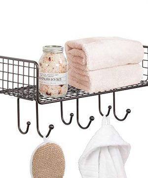 MDesign Metal Wire Farmhouse Wall Decor Storage Organizer Shelf With 6 Hooks For Bathroom Organization To Hold Face And Hand Towels Tissue Soap Lotion Robes Wall Mount Bronze 0 300x360