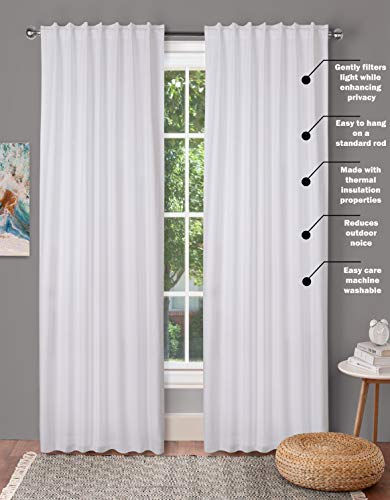 Window Panels Set Of 2Cotton Curtains InTextured Fabric 50x96 WhiteFarm House CurtainTab Top CurtainsRoom Darkening DrapesCurtains For BedroomCurtains For Living RoomCurtains Set Of 2 0 0