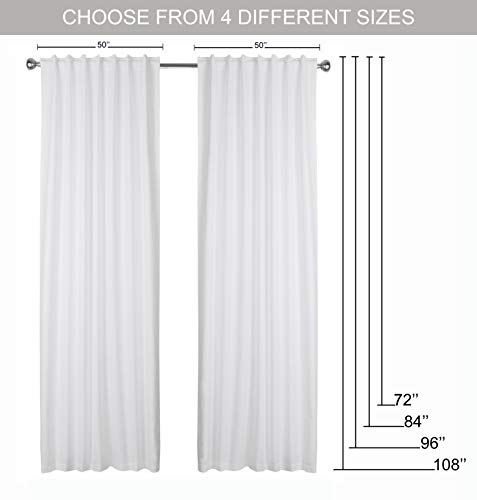 Window Panels Set Of 2Cotton Curtains InTextured Fabric 50x96 WhiteFarm House CurtainTab Top CurtainsRoom Darkening DrapesCurtains For BedroomCurtains For Living RoomCurtains Set Of 2 0 5