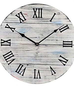 12 Inch Rustic Farmhouse Vintage Wooden Painted Wall Clock Distressed White Battery Operated 0 300x360