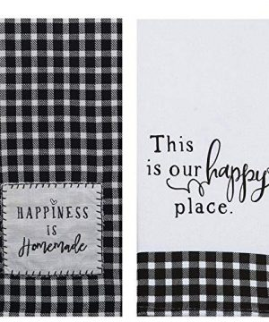 18th Street Gifts Farmhouse Kitchen Towels Set Of 2 Black And White Buffalo Plaid Tea Towels 0 300x360