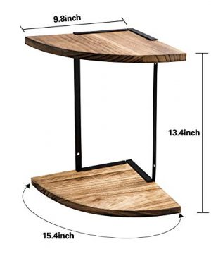 2 Tier Floating Shelves Wall Mounted Corner Shelf Wall Mount Shelves Perfect For Pantry Living Room Bedroom KitchenCarbonized Black 0 0 300x360