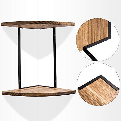 2 Tier Floating Shelves Wall Mounted Corner Shelf Wall Mount Shelves Perfect For Pantry Living Room Bedroom KitchenCarbonized Black 0 1