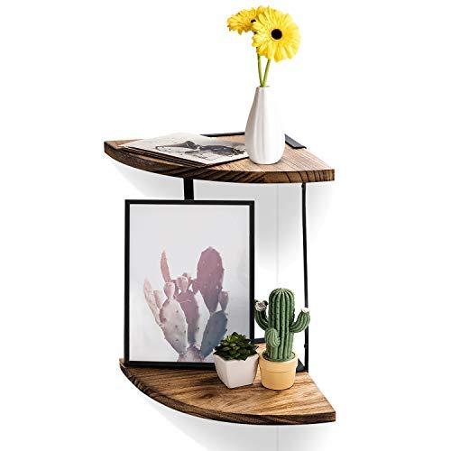 2 Tier Floating Shelves Wall Mounted Corner Shelf Wall Mount Shelves Perfect For Pantry Living Room Bedroom KitchenCarbonized Black 0