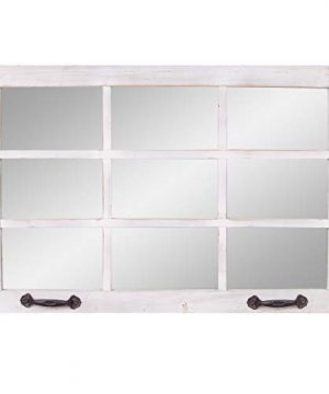 24x36 Distressed White Windowpane Wall Accent Mirror 0 300x360