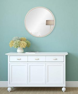 30 Distressed White Metal Framed Round Wall Mirror 0 0 300x360