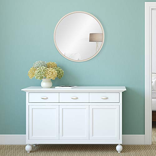 30 Distressed White Metal Framed Round Wall Mirror 0 0