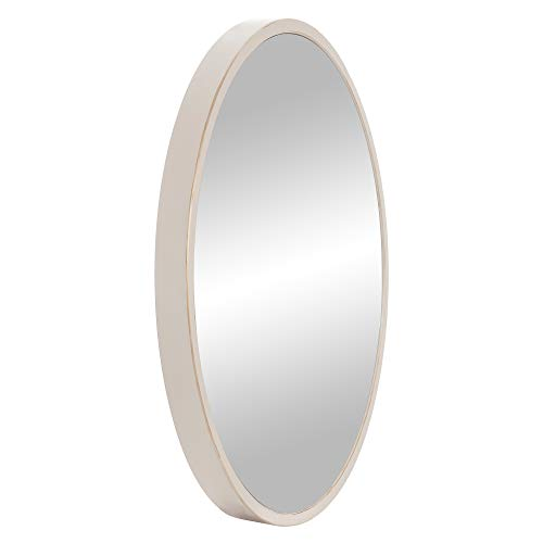 30 Distressed White Metal Framed Round Wall Mirror 0 2