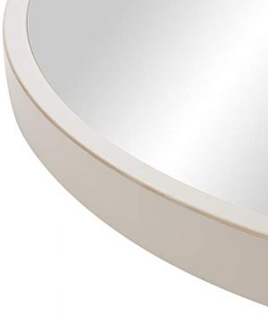 30 Distressed White Metal Framed Round Wall Mirror 0 3 300x360
