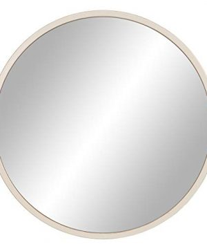 30 Distressed White Metal Framed Round Wall Mirror 0 300x360
