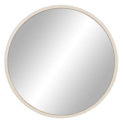 30 Distressed White Metal Framed Round Wall Mirror 0