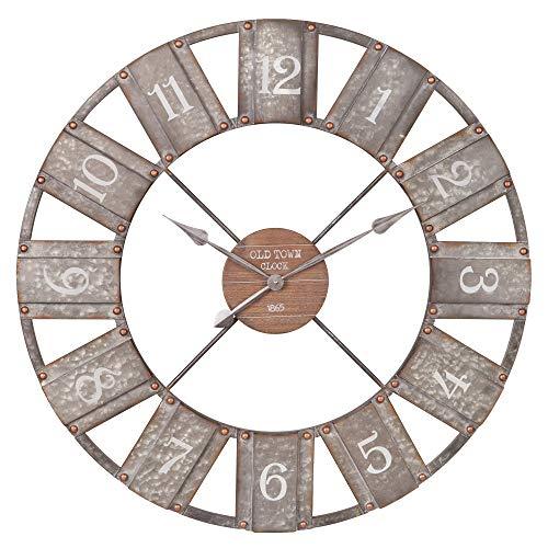 36 Galvanized Metal And Wood Windmill Clock 0