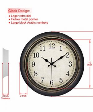 45Min 14 Inch Round Classic Clock Silent Non Ticking Retro Quartz Decorative Wall Clock Black Gold 0 0 300x360