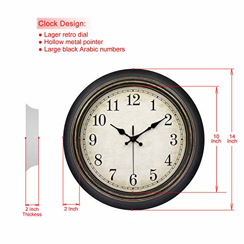 45Min 14 Inch Round Classic Clock Silent Non Ticking Retro Quartz Decorative Wall Clock Black Gold 0 0
