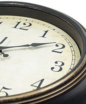 45Min 14 Inch Round Classic Clock Silent Non Ticking Retro Quartz Decorative Wall Clock Black Gold 0 2 300x360