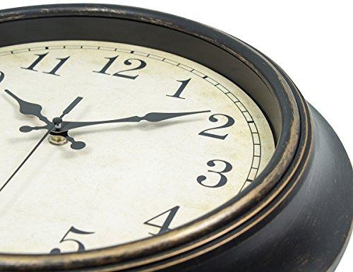 45Min 14 Inch Round Classic Clock Silent Non Ticking Retro Quartz Decorative Wall Clock Black Gold 0 2