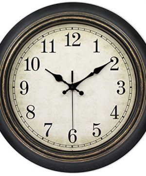 45Min 14 Inch Round Classic Clock Silent Non Ticking Retro Quartz Decorative Wall Clock Black Gold 0 300x360