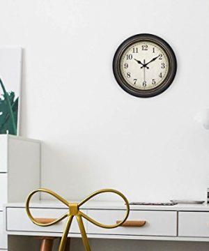 45Min 14 Inch Round Classic Clock Silent Non Ticking Retro Quartz Decorative Wall Clock Black Gold 0 4 300x360