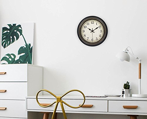 45Min 14 Inch Round Classic Clock Silent Non Ticking Retro Quartz Decorative Wall Clock Black Gold 0 4