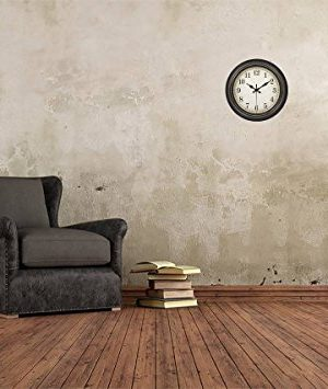 45Min 14 Inch Round Classic Clock Silent Non Ticking Retro Quartz Decorative Wall Clock Black Gold 0 5 300x355