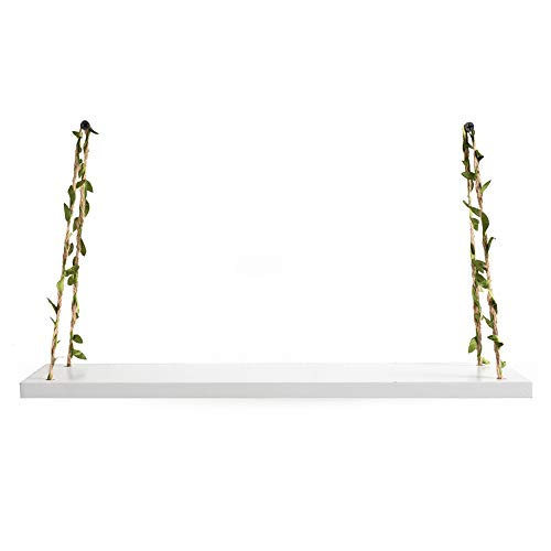 AHDECOR LeafRope Hanging Floating Shelves Wall Swing Storage Shelf For Home Dcor White 3 Pack 0 0