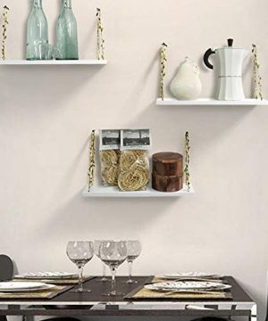 AHDECOR LeafRope Hanging Floating Shelves Wall Swing Storage Shelf For Home Dcor White 3 Pack 0 1 300x360