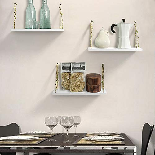AHDECOR LeafRope Hanging Floating Shelves Wall Swing Storage Shelf For Home Dcor White 3 Pack 0 1