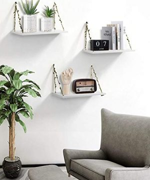 AHDECOR LeafRope Hanging Floating Shelves Wall Swing Storage Shelf For Home Dcor White 3 Pack 0 3 300x360